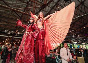 Hala on stilts Marakesh belly dance Berber stiltwalking costume Toronto circus entertainment Scrubs in the city