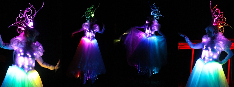 Banner LED Crystal Queen costume stiltwalker Hala on Stilts Toronto entertainment light up dress échasses pernas de pau