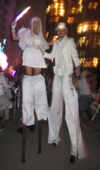 Hala on stilts stilt walker Toronto white party