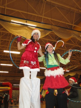 Stilt walkers Toronto Christmas Hala on stilts