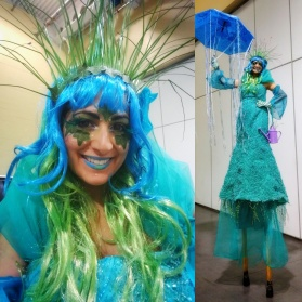 Stiltwalker Toronto Hala on stilts spring rain goddess green costume 2017 entertainment
