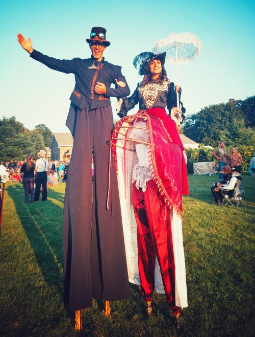 Steampunk cider festival 2017 stilt-walkers entertainment on stilts