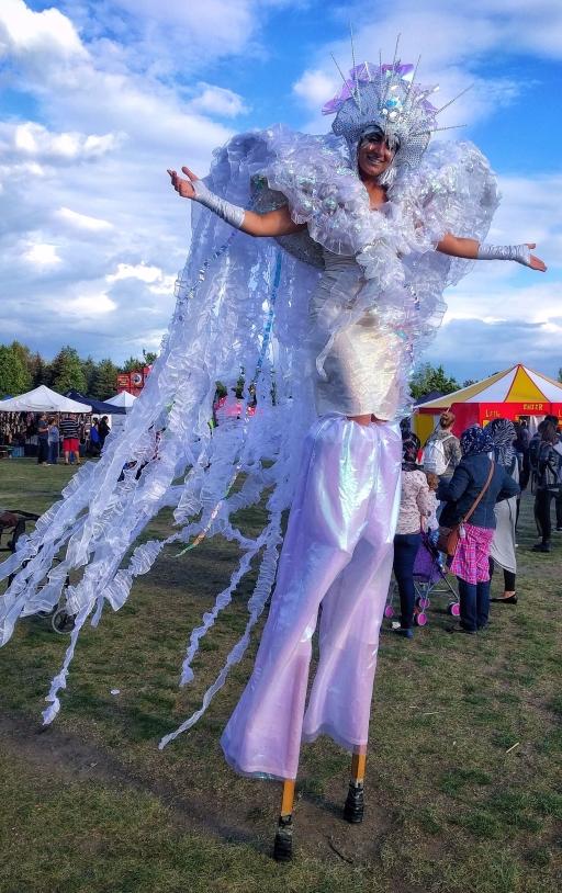 Iridescent dream fairy stilts costume Hala stiltwalker Toronto buskerfest 2017