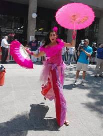 Hala on jumping stilts - Toronto Buskerfest preview 2011