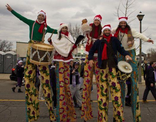 MaracaTALL stilt-drumming troupe