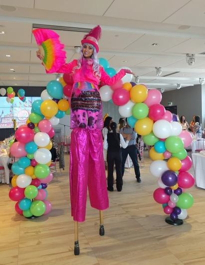 Hala on stilts pink circus stilt walker Toronto 2017