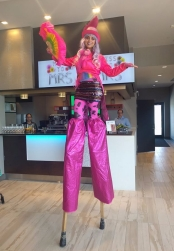 Hala on stilts pink circus stiltwalker Toronto entertainment