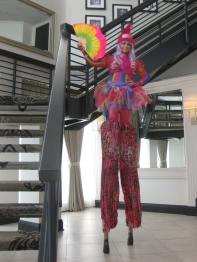 Hala on stilts stiltwalker Toronto Markham pastel wig pink rainbow stilter GTA Nov 2016