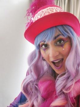 Hala on stilts pink circus lady stiltwalker Toronto