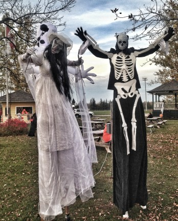 Scary stiltwalkers halloween Hala on stilts performer corpse bride and skeleton man family fright fiesta 2017 Toronto Entertainment