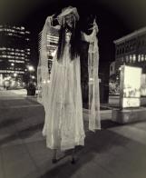 Halloween scary stilt-walker corpse bride Hala on stilts entertainment Hamilton 2017