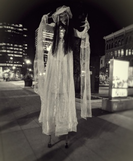 Halloween scary stilt-walker corpse bride Hala on stilts entertainment Hamilton 2017
