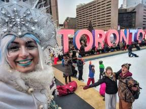 Toronto sign Holiday fair in the square 2017 Hala on stilts Ice queen stiltwalker