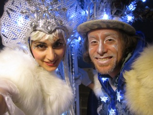 Ice queen and snow king Hala on Stilts