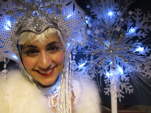 Hala on stilts Ice queen stiltwalker closeup