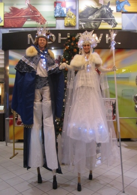 Stilter duo Hala on stilts Ice Queen and snow king OLG Mohawk slots stiltwalkers toronto