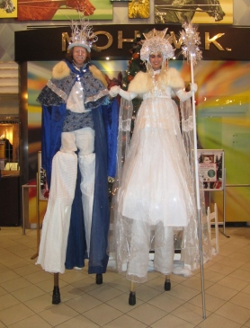 Hala on stilts snow king and Ice queen Mohawk slots stilt walkers Toronto