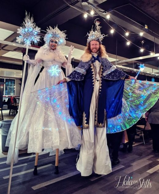 stiltwalkers Ice queen and show king Hala on stilts 2019
