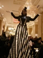 Hala on Stilts elegant ballroom gown toronto stilt walker
