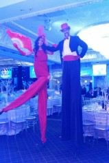 Hala on stilts Gala Tuxedo Stiltwalker red Oct 2016