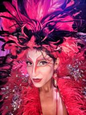 Hala on stilts red feathers cirque do soleil makeup toronto stilt-walker 2019