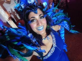 Carnival stilt walker blue feathers costume Hala on Stilts Toronto Entertainment 2017