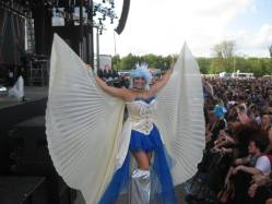 Hala on stilts white wings with blue costume stilt performer everafter festival 2017