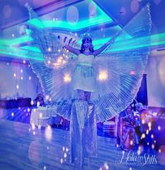 Hala on Stilts LED Isis wings Toronto Stilt-walker