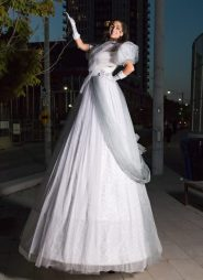 Bal en blanc on stilts echasses Toronto white ballgown costume