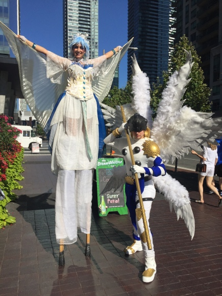 stiltwalker wings Toronto GTA Hala on Stilts Fanexpo 2016 white and blue
