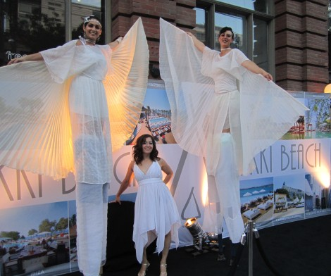 Hala on stilts angels white party