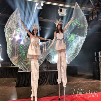 LED Isis wings stilt-walkers Toronto Hala on stilts