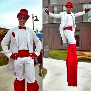 Stiltwalker Toronto white and red tuxedo stilts performer entertainment Canada 150