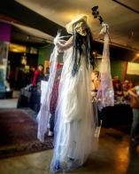 Corpse bride halloween stilt-walker Hala on stilts