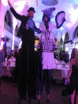 Hala on stilts stiltwalkers Toronto madame mauve and uncle frolick