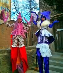 stilt-walkers toronto madame mauve and lobster on stilts