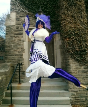 Hala on stilts madame mauve stiltwalker toronto