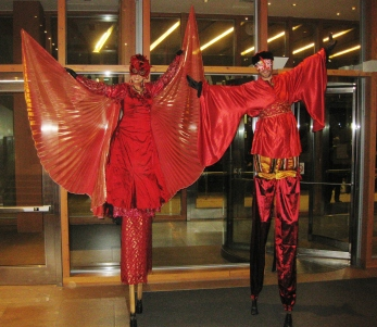 stiltwalkers stilt walkers hala on stilts Toronto AGO red wings Nov 2016