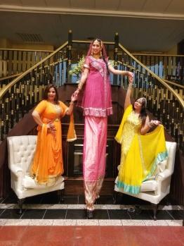Diwali celebration stiltwalker performer hala on stilts entertainment bollywood Indian costume 2017