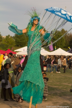 April showers costume stiltwalker Hala on stilts entertainment Buskerfest Toronto 2017