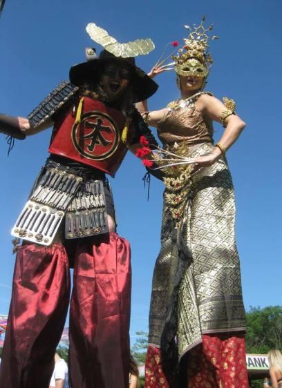 Shogun Hala on stilts stiltdancers thai costume samurai toronto entertaiment