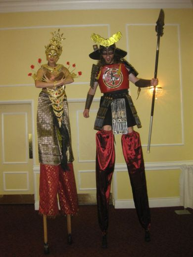 Hala on stilts Shogun and Thai stilt dancer stiltwalkers toronto