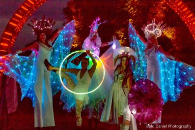 Mystika Circus and LED Crystal Queen on stilts Eclipse Festival Canada 2017