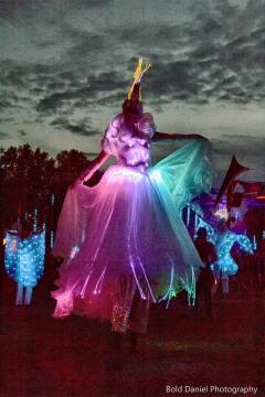 LED Crystal Queen on stilts Eclipse Festival Canada 2017 Hala stiltwalker