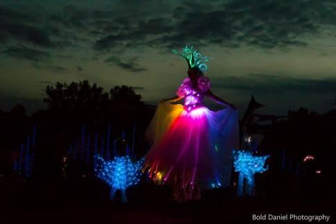 stilts LED costume - Crystal Queen at Eclipse Festival Canada 2017 - fiber optics