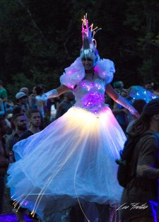 stiltwalker LED costume Crystal Queen on stilts Eclipse Festival Canada 2017