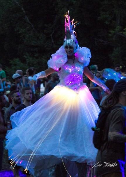 stiltwalker LED costume Crystal Queen on stilts Eclipse Festival Canada 2017