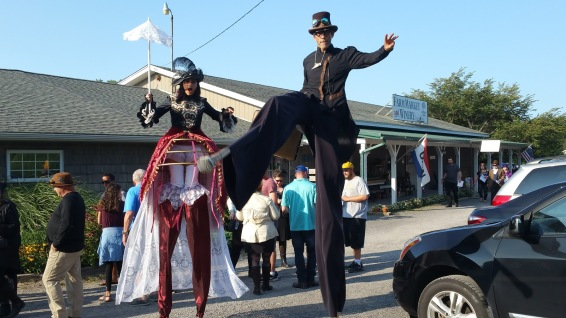 Stiltwalkers at Steampunk Cider festival 2017 entertainment on stilts