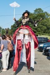 Hala on stilts steampunk costume cider festival stiltwalker
