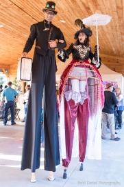 Hala on Stilts steampunk costume stilt-walkers